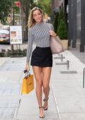 Olivia Ponton puts on a leggy display on the set of a photoshoot at Hudson Yards in New York City