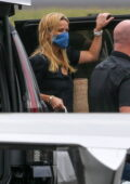 Reese Witherspoon and Ava Phillippe seen boarding a private jet at Van Nuys Airport, California