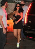Rihanna looks fab in a black mini dress as she steps for a night out with friends in New York City