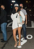 Rihanna puts on a leggy display while out for dinner in New York City