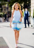 Rita Ora looks fashionable in a blue dress while making a stop for an ice cream at Hotel de Crillon in Paris, France