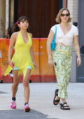 Rowan Blanchard stands out in bright yellow while out for lunch with Tommy Dorfman in New York City
