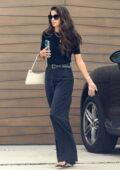 Sara Sampaio looks chic in all-black while visiting a friend in Santa Monica, California