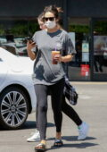 Shay Mitchell keeps it casual in a tee and leggings while out with a friend for an iced coffee in Los Angeles