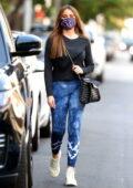Sofía Vergara sports a black Nike top and blue tie-dye leggings while running errands in Beverly Hills, California