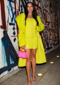 Tinashe dazzles in bright lemon green ensemble as she leaves Craig's after dinner in West Hollywood, California