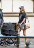 Toni Garrn and Alex Pettyfer step out for a stroll with their newborn baby in Prenzlauer Berg, Berlin, Germany