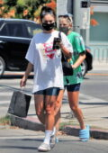 Vanessa Hudgens keeps it casual while leaving a spa with her BFF GG Magree in Los Angeles