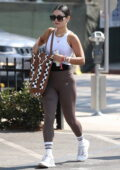 Vanessa Hudgens showcases her toned physique in a tank top and leggings while leaving a Pilates class in West Hollywood, California