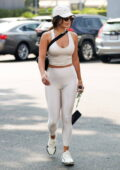 Vanessa Hudgens sports a cream crop top and leggings as she gets in a workout at DogPound gym in West Hollywood, California