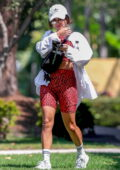 Vanessa Hudgens sports snakeskin print crop top and legging shorts as she leaves a Pilates class in West Hollywood, California