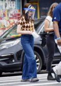 Zoey Deutch seen wearing a face shield as she heads to the set of 'Not Okay' in New York City
