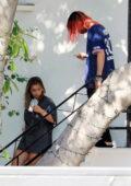 Addison Rae and boyfriend Omer Fedi seen leaving a hair salon in West Hollywood, California