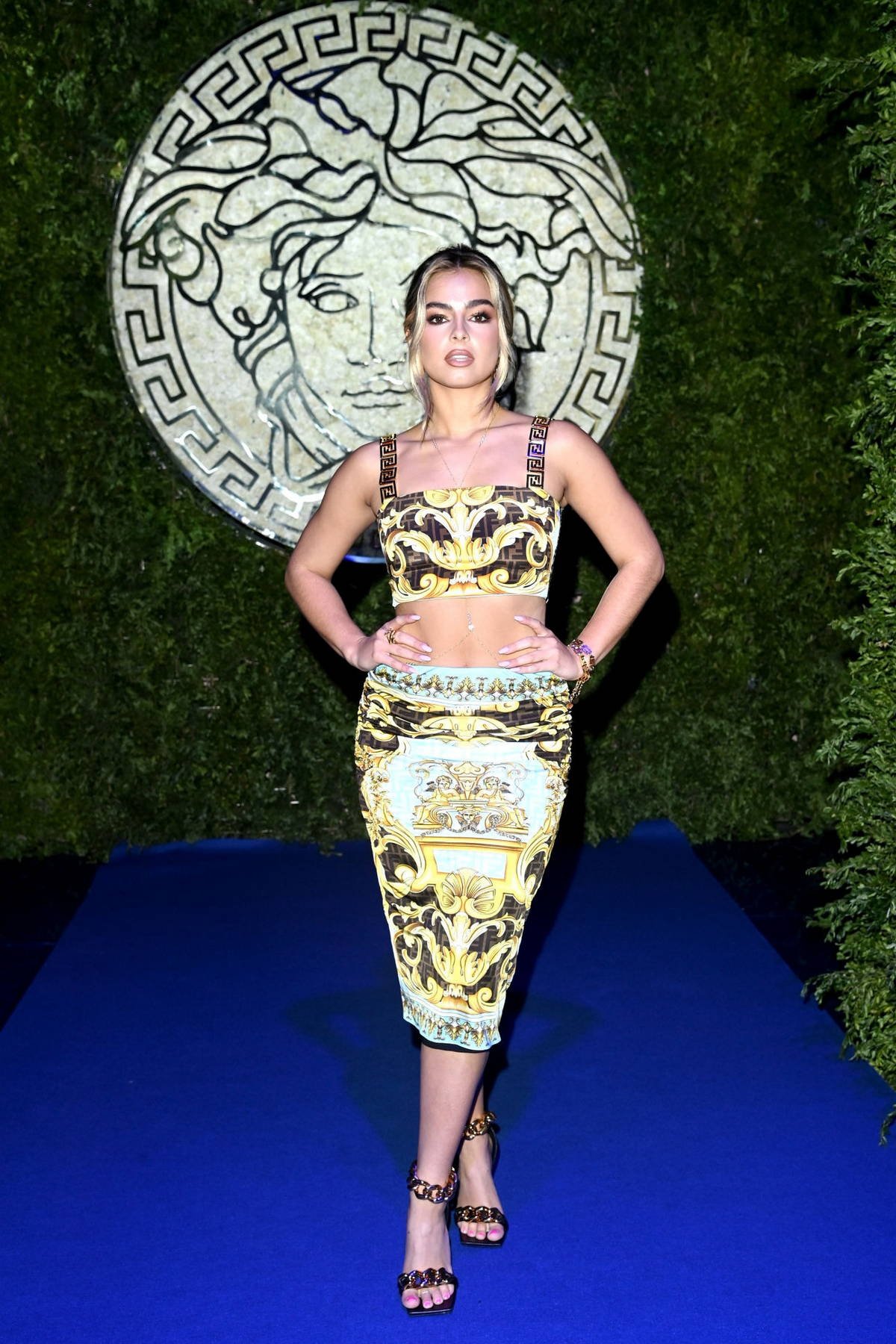 Addison Rae attends the Versace x Fendi event during Milan Fashion Week in Milan, Italy