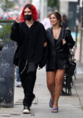 Addison Rae puts on a leggy display while out for lunch with new boyfriend Omer Fedi in West Hollywood, California