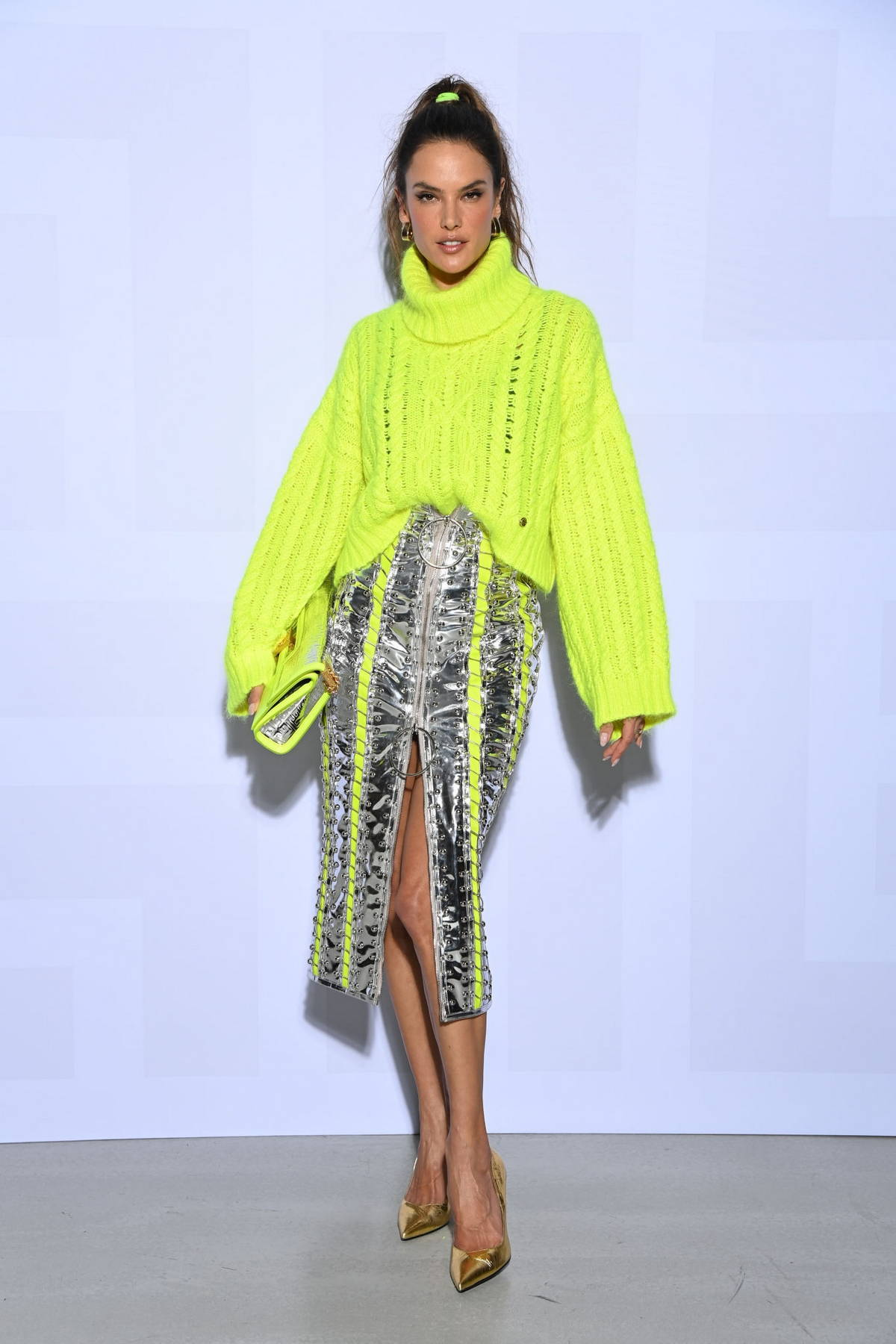 Alessandra Ambrosio attends the Balmain Festival during Paris Fashion Week in Boulogne-Billancourt, France