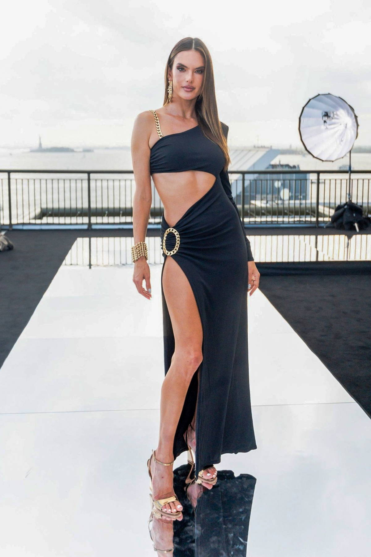 Alessandra Ambrosio attends the Dundas x Revolve fashion show during New York Fashion Week in New York City