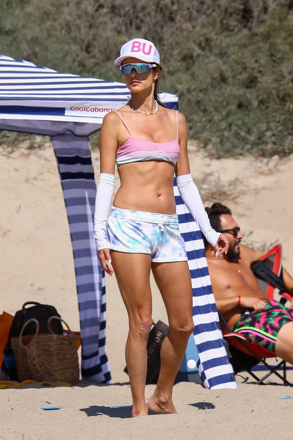 Alessandra Ambrosio displays her incredible bikini body during another day of beach volleyball with friends in Santa Monica, California