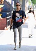 Alessandra Ambrosio rocks a 'David Bowie' tee and grey leggings for a Pilates class in Santa Monica, California