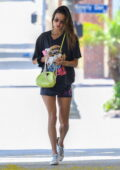 Alessandra Ambrosio rocks a 'David Bowie' tee and short shorts for a workout session in Brentwood, California