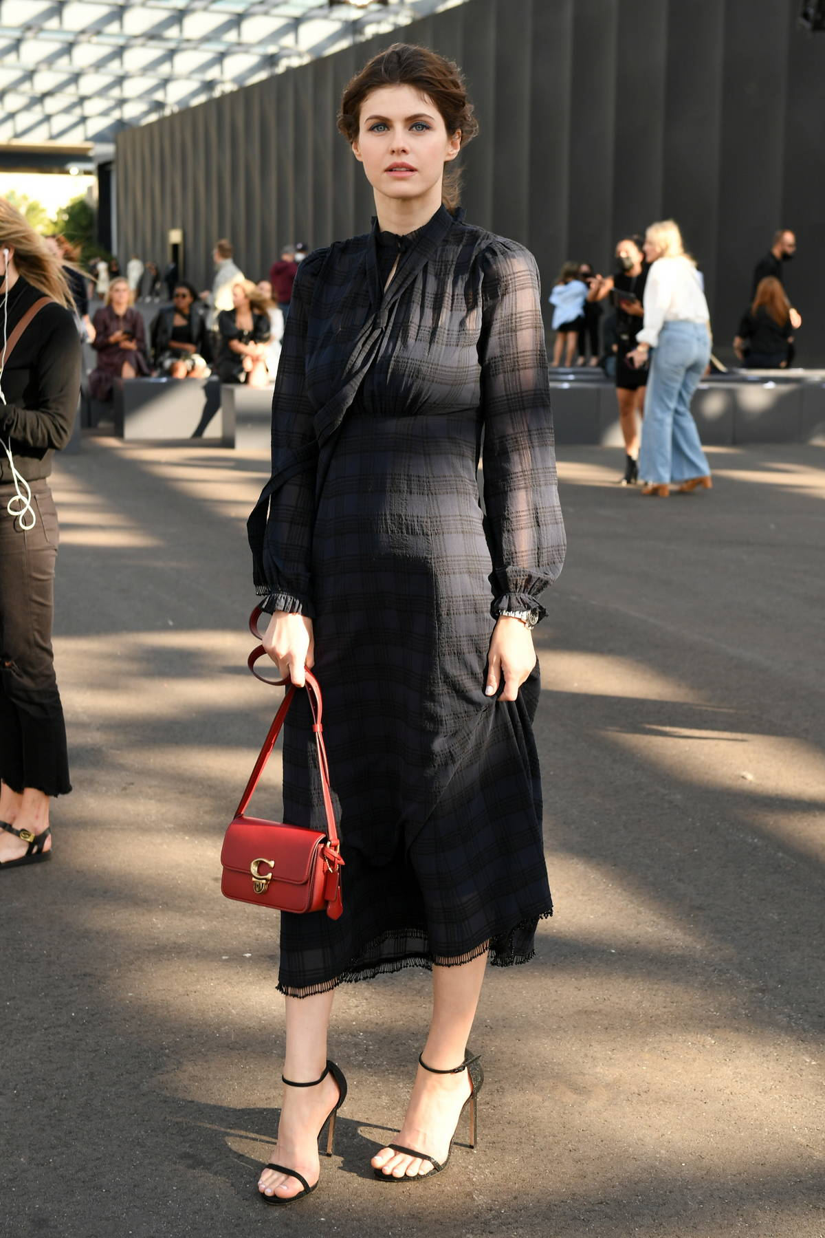 Alexandra Daddario attends the Coach Spring-Summer 2022 fashion show during New York Fashion Week in New York City