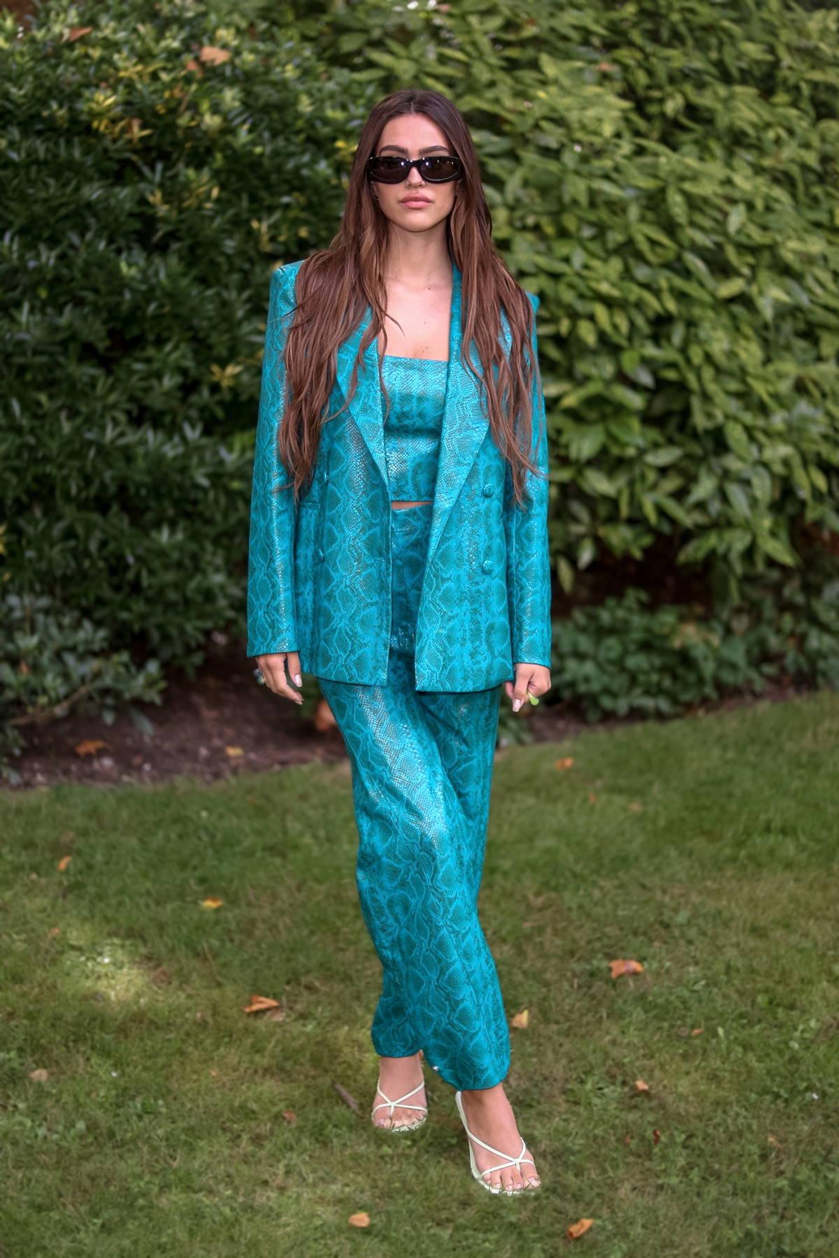 Amelia Hamlin attends the Bora Aksu show during London Fashion Week in London, UK