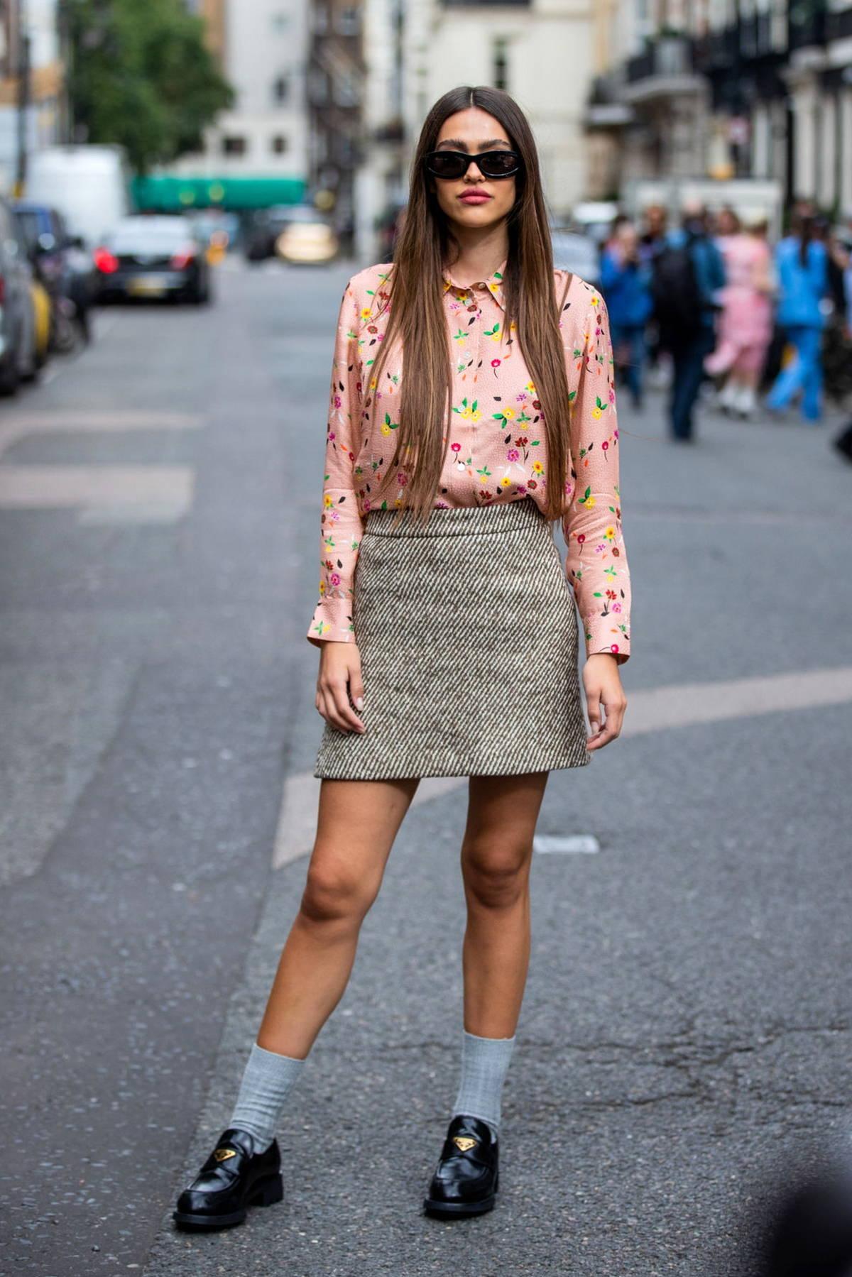 Amelia Hamlin attends the Paul & Joe SS22 show during London Fashion Week at Dartmouth House in London, UK