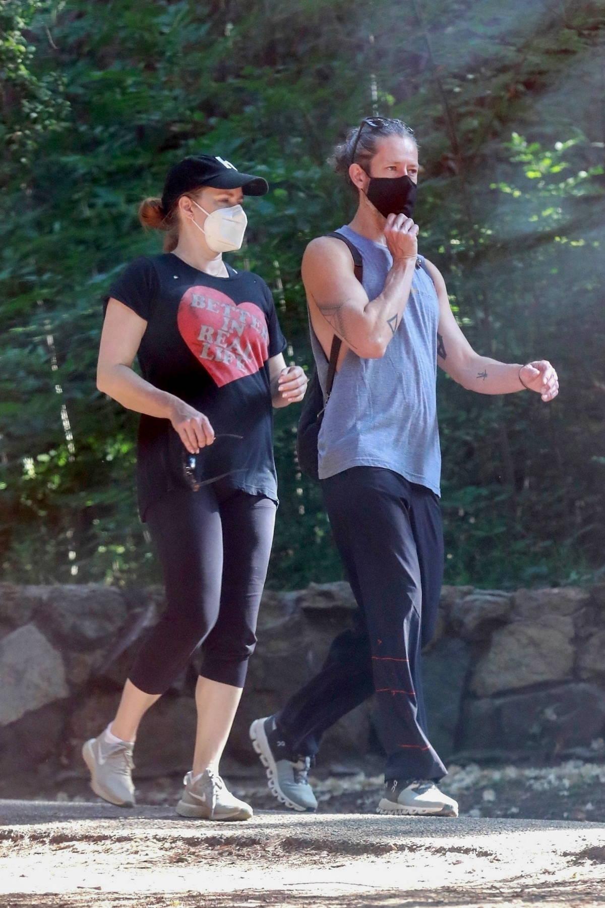 Amy Adams and husband Darren Le Gallo enjoy an early morning hike in Los Feliz, California