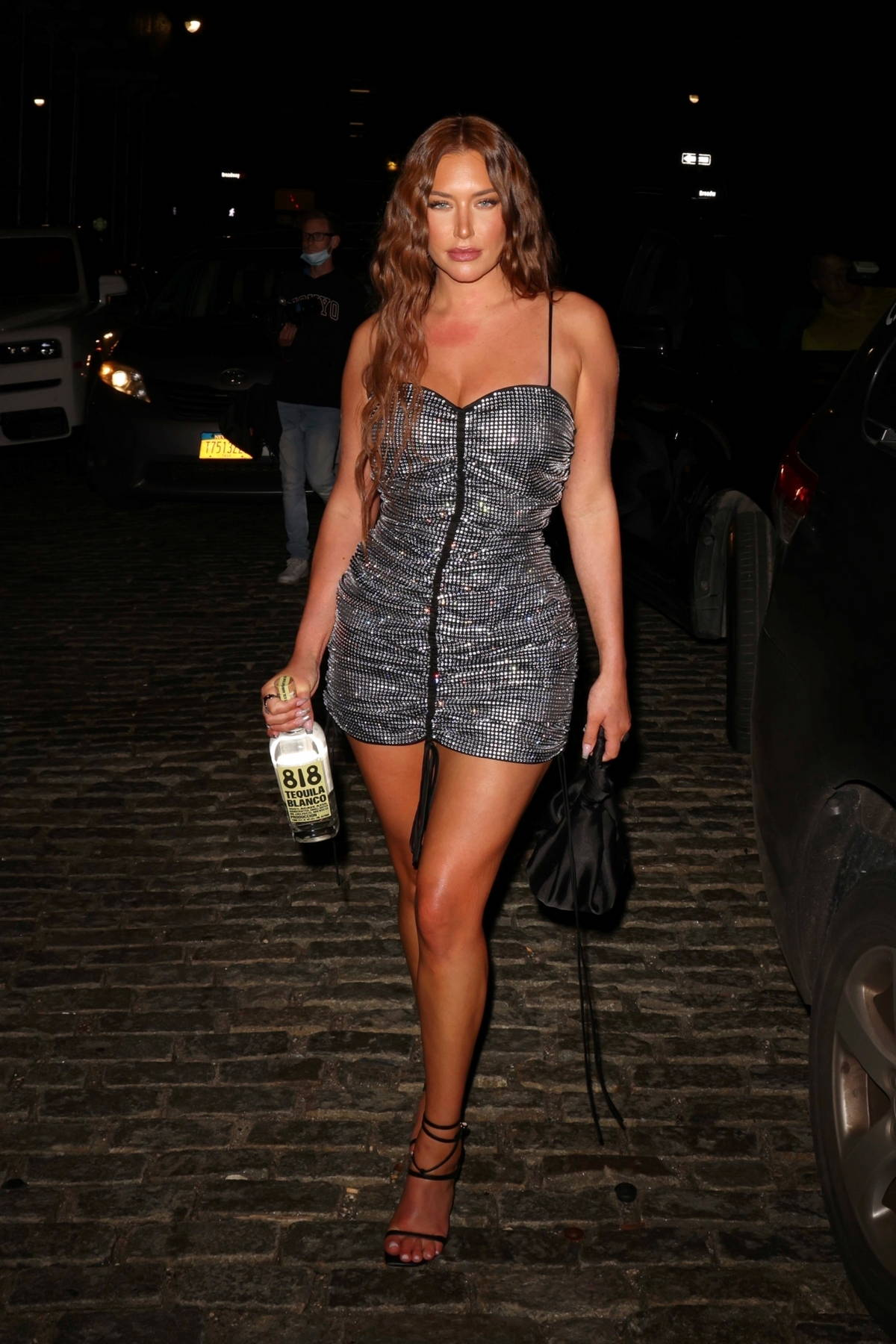 Anastasia Karanikolaou dazzles in a sparkly silver mini dress during a night out with friends in New York City