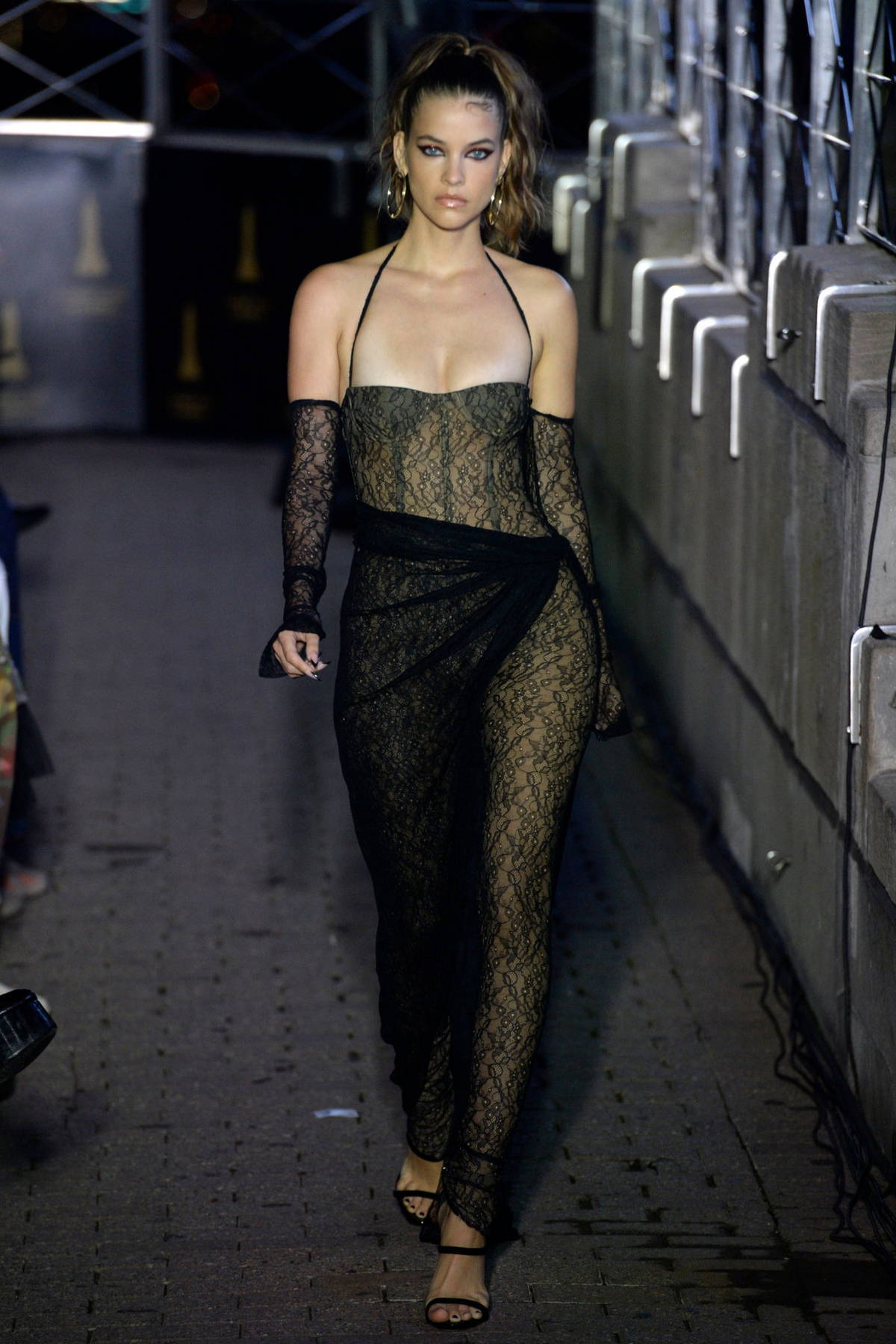 Barbara Palvin walks the runway for Laquan Smith during New York Fashion Week in New York City