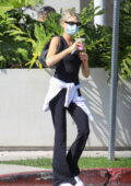 Charlotte Mckinney stops in for a matcha drink at Cha Cha Matcha in West Hollywood, California