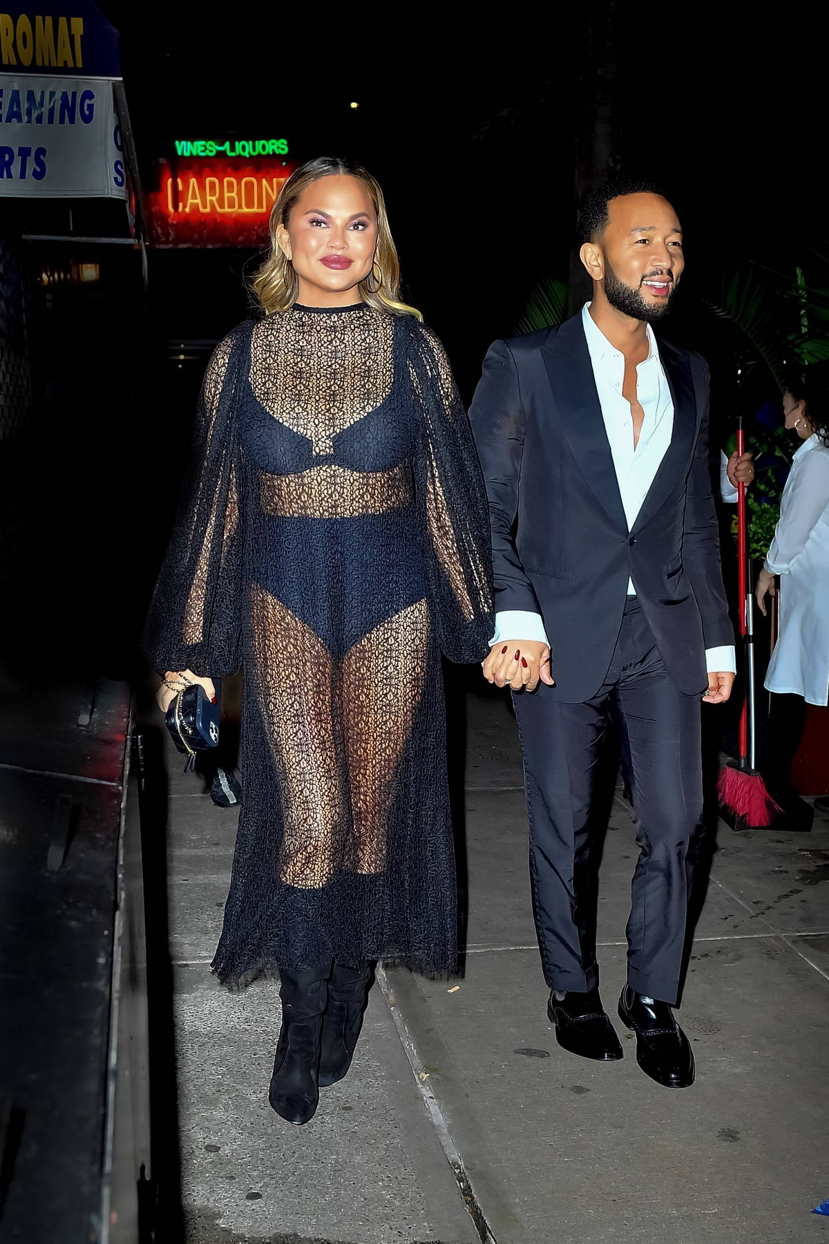 Chrissy Teigen stuns in a sheer dress during a date night with John Legend in New York City