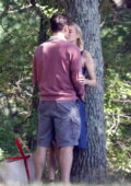 Diane Kruger and Ray Nicholson embrace and kiss on the set of 'Out of the Blue' in Providence, Rhode Island