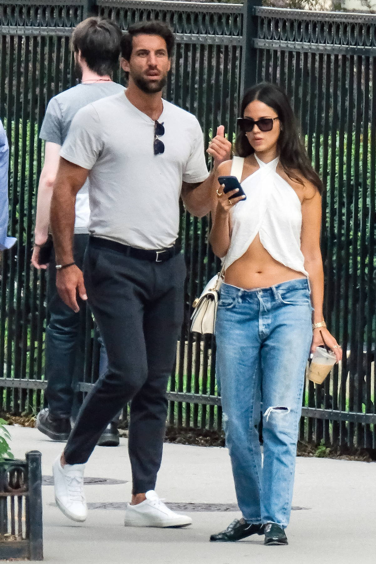 Eiza Gonzalez flaunts her midriff while stepping out with boyfriend Paul Rabil in New York City