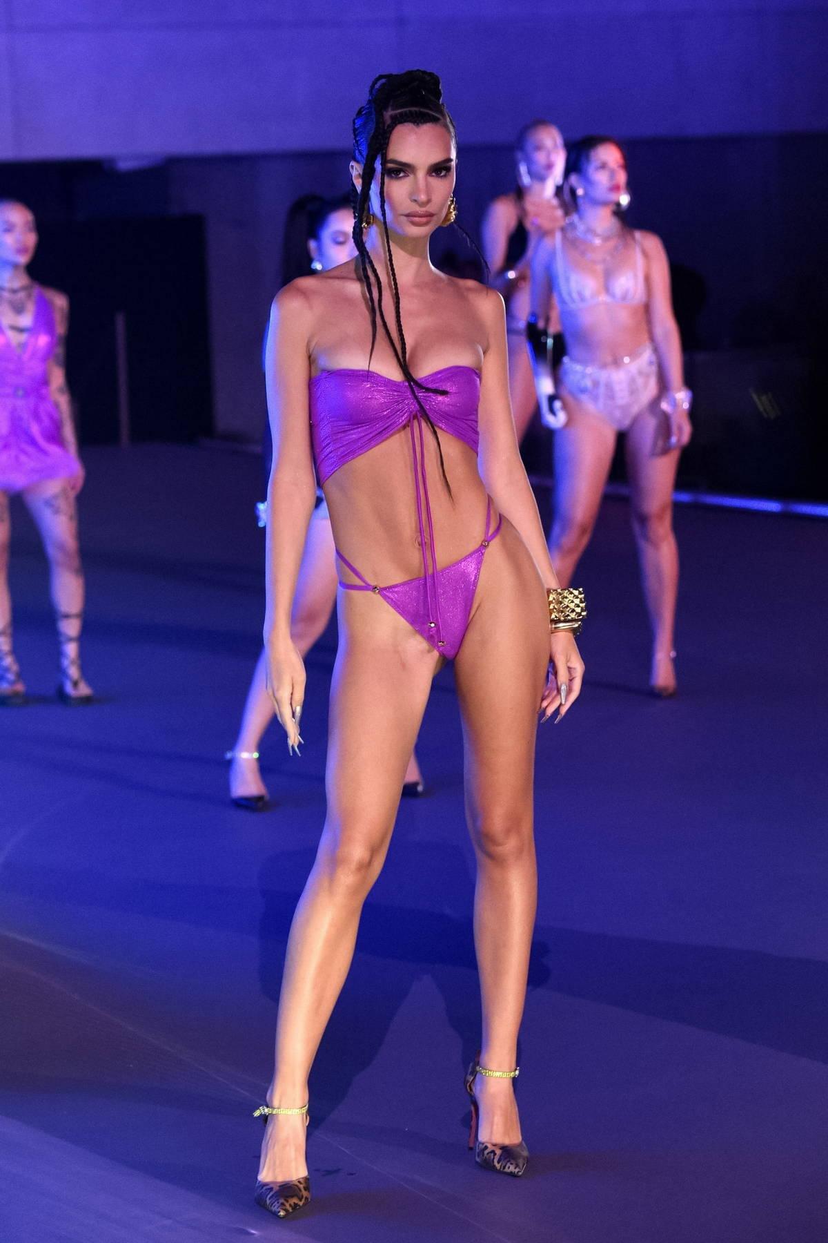 Emily Ratajkowski walks the runway for Fenty X Savage Fashion Show Vol 3 in Los Angeles