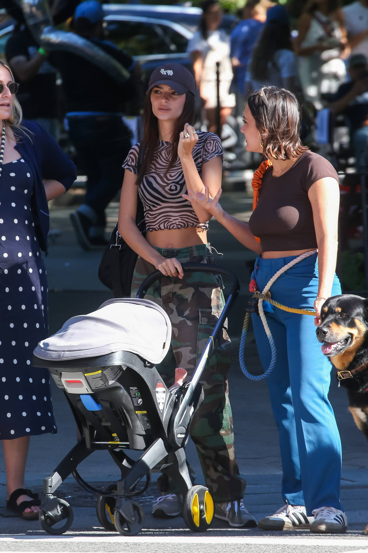 Emily Ratajkowski wears a midriff baring animal print top and camo cargo pants while out for a stroll with friends in New York City