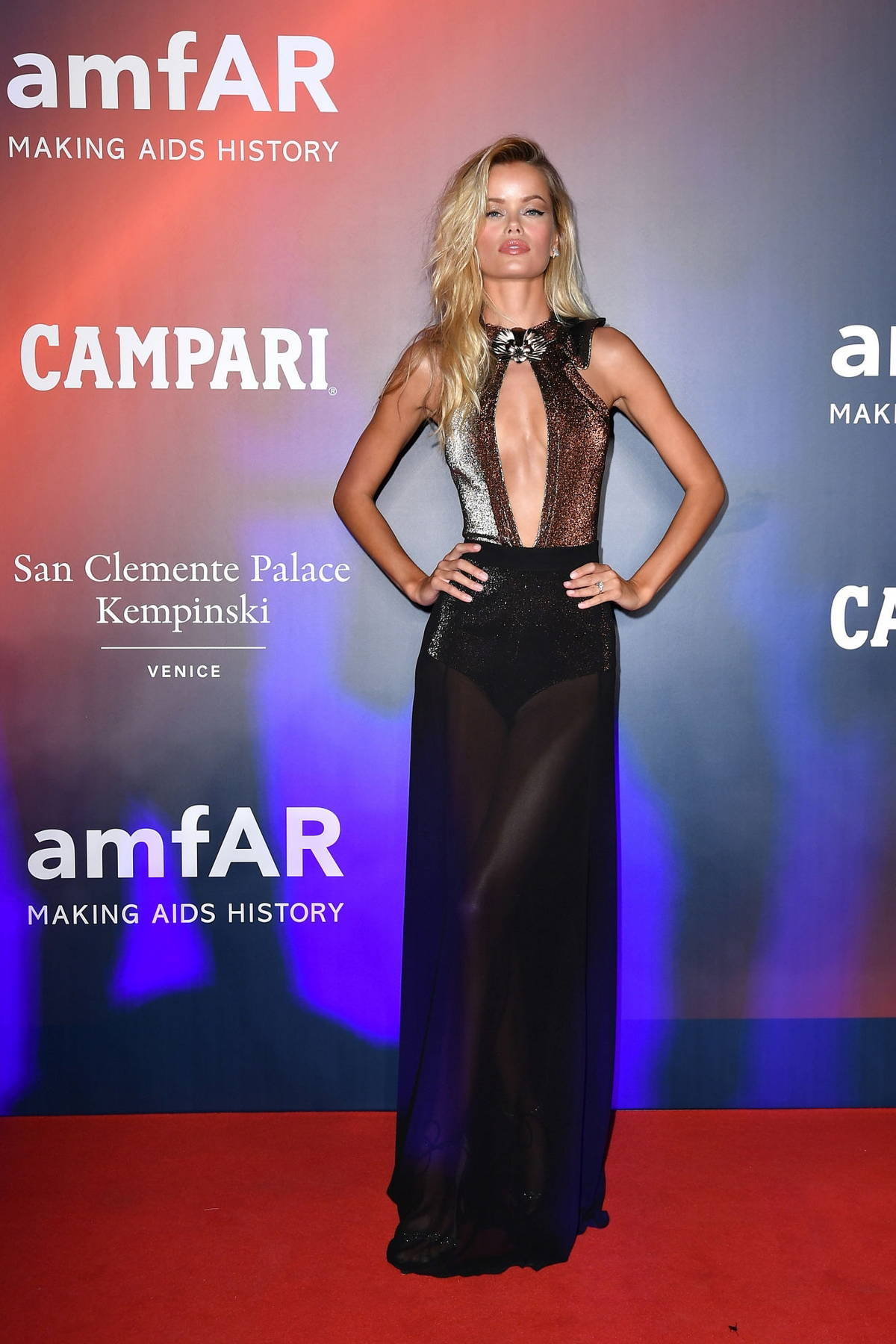 Frida Aasen attends the 2021 amfAR Gala during the 78th Venice International Film Festival in Venice, Italy