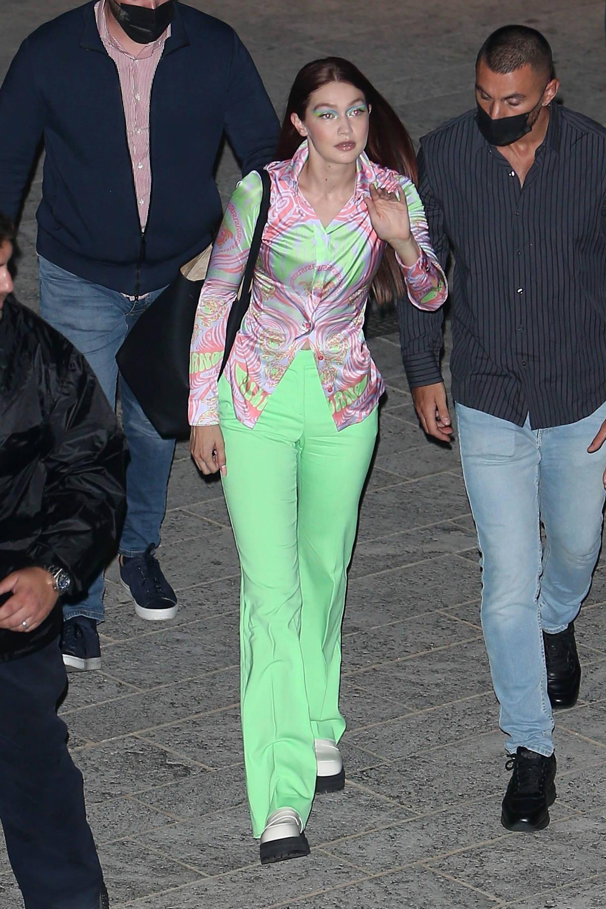 Gigi Hadid seen leaving the Versace SS22 show during Milan Fashion Week in Milan, Italy