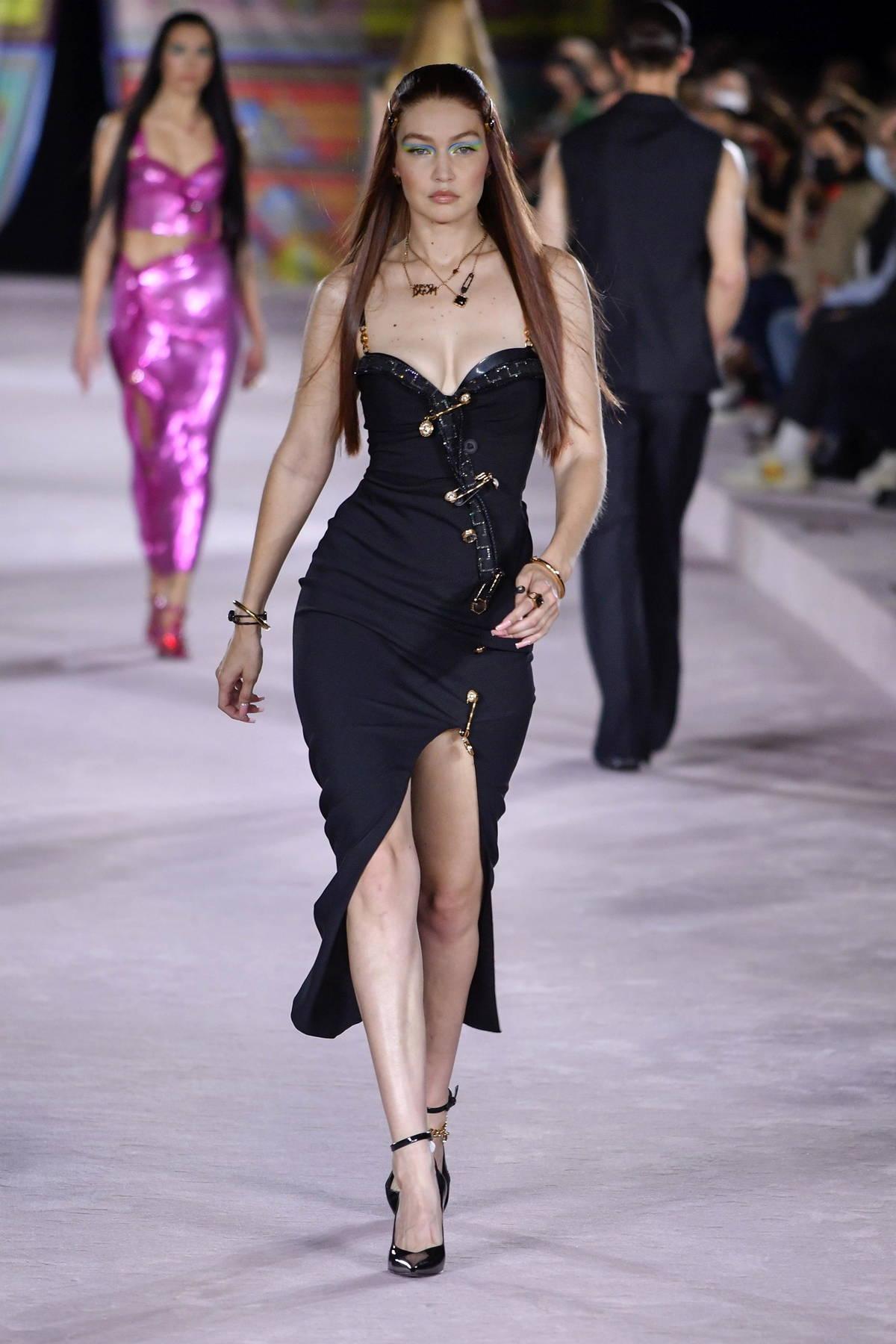 Gigi Hadid walks the runway for The Versace SS22 fashion show during Milan Fashion Week in Milan, Italy