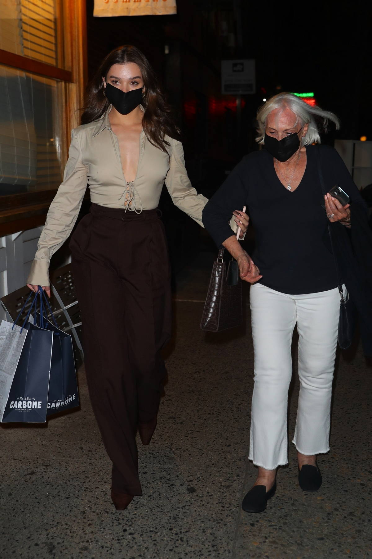 Hailee Steinfeld spotted leaving Carbone after having dinner with her grandmother in New York City