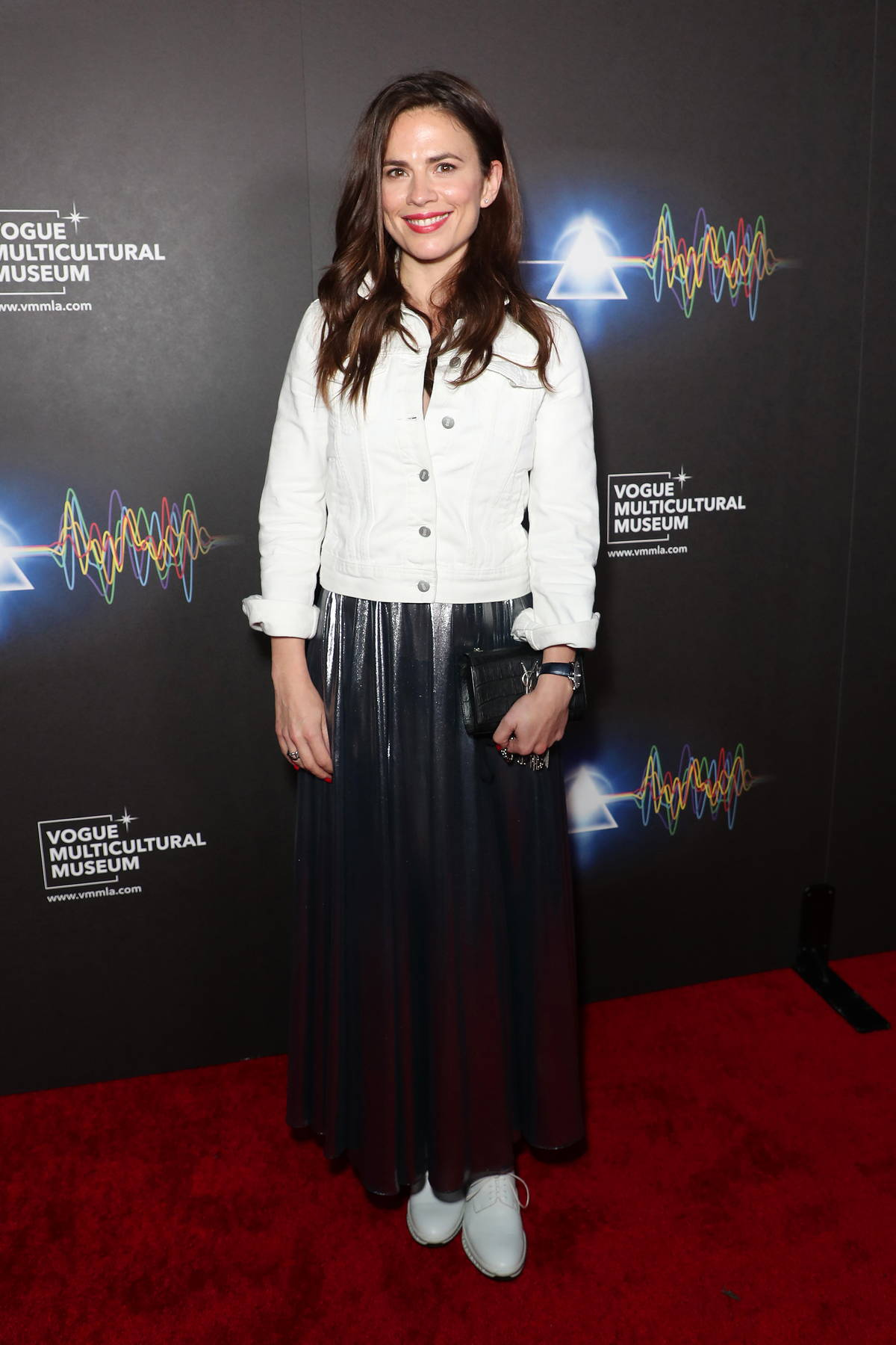 Hayley Atwell attends the Grand Opening of 'The Pink Floyd Exhibition: Their Mortal Remains' in Los Angeles