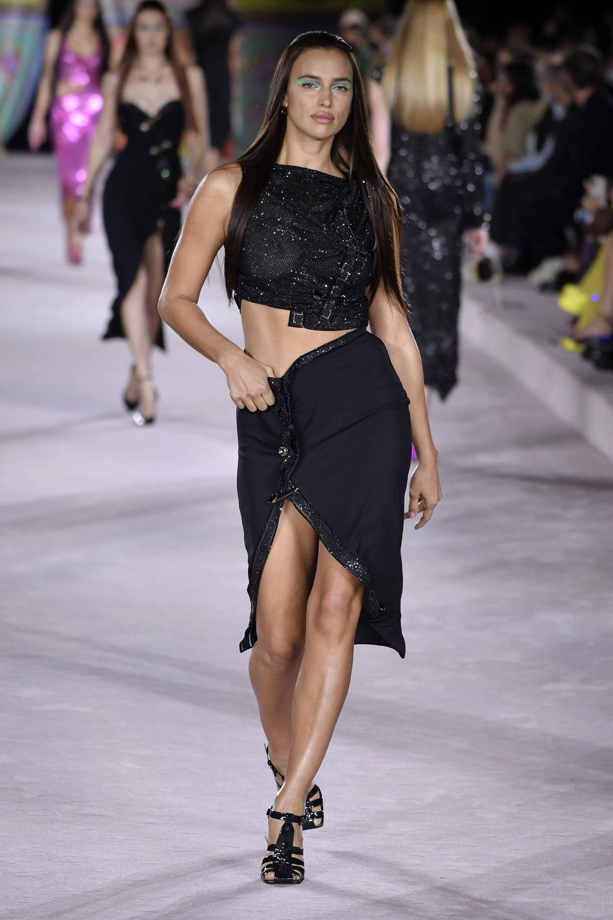 Irina Shayk walks the runway for The Versace SS22 fashion show during Milan Fashion Week in Milan, Italy