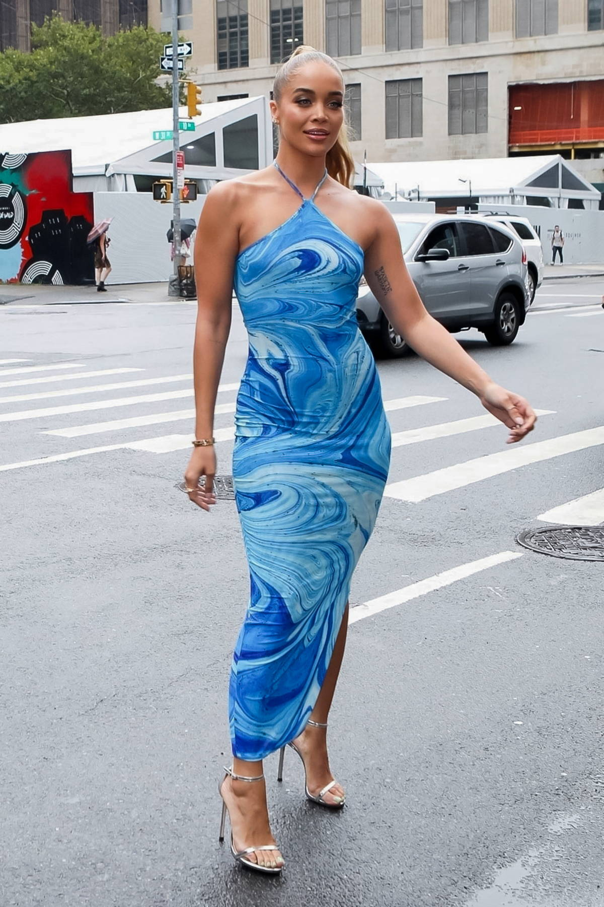 Jasmine Sanders attends the Revolve Gallery inaugural event during New York Fashion Week at Hudson Yards in New York City