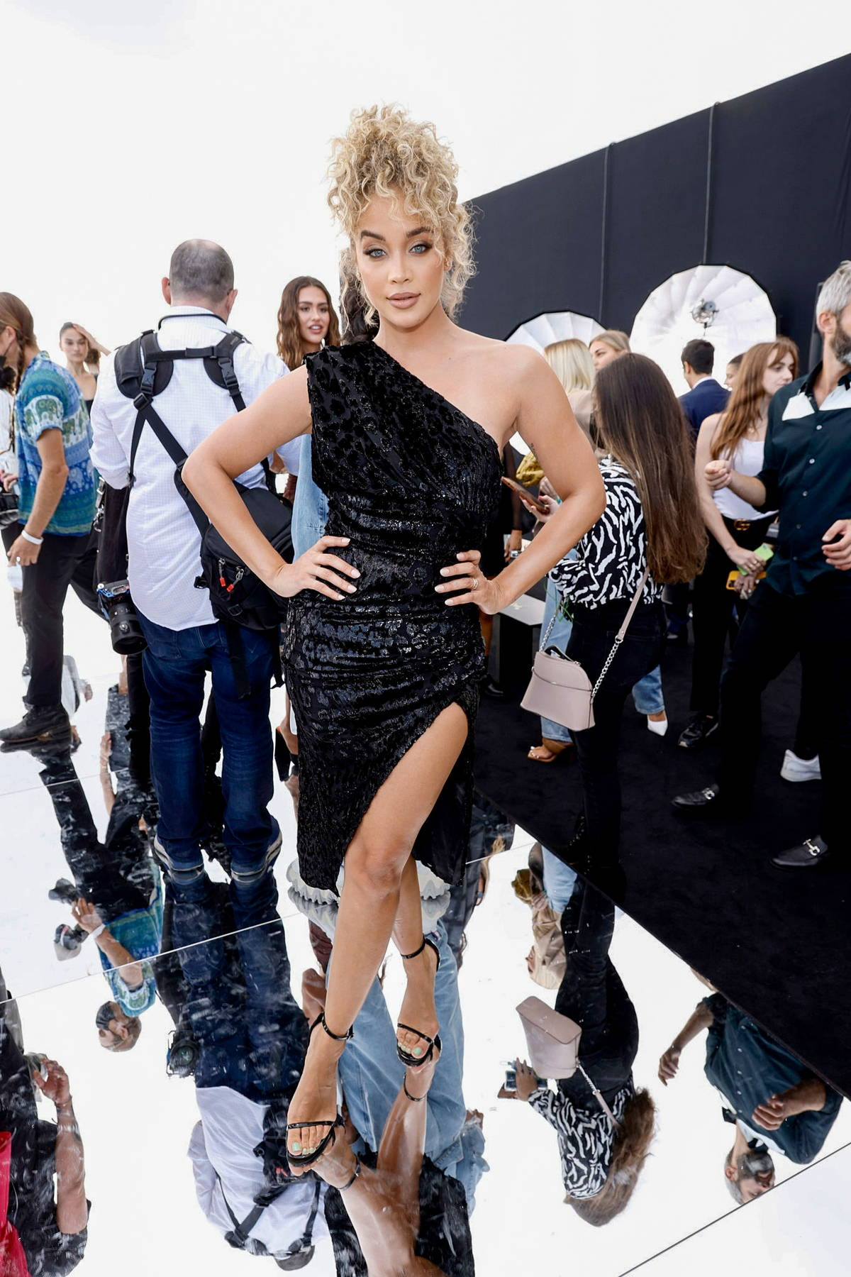 Jasmine Sanders attends the Dundas x Revolve fashion show during New York Fashion Week in New York City