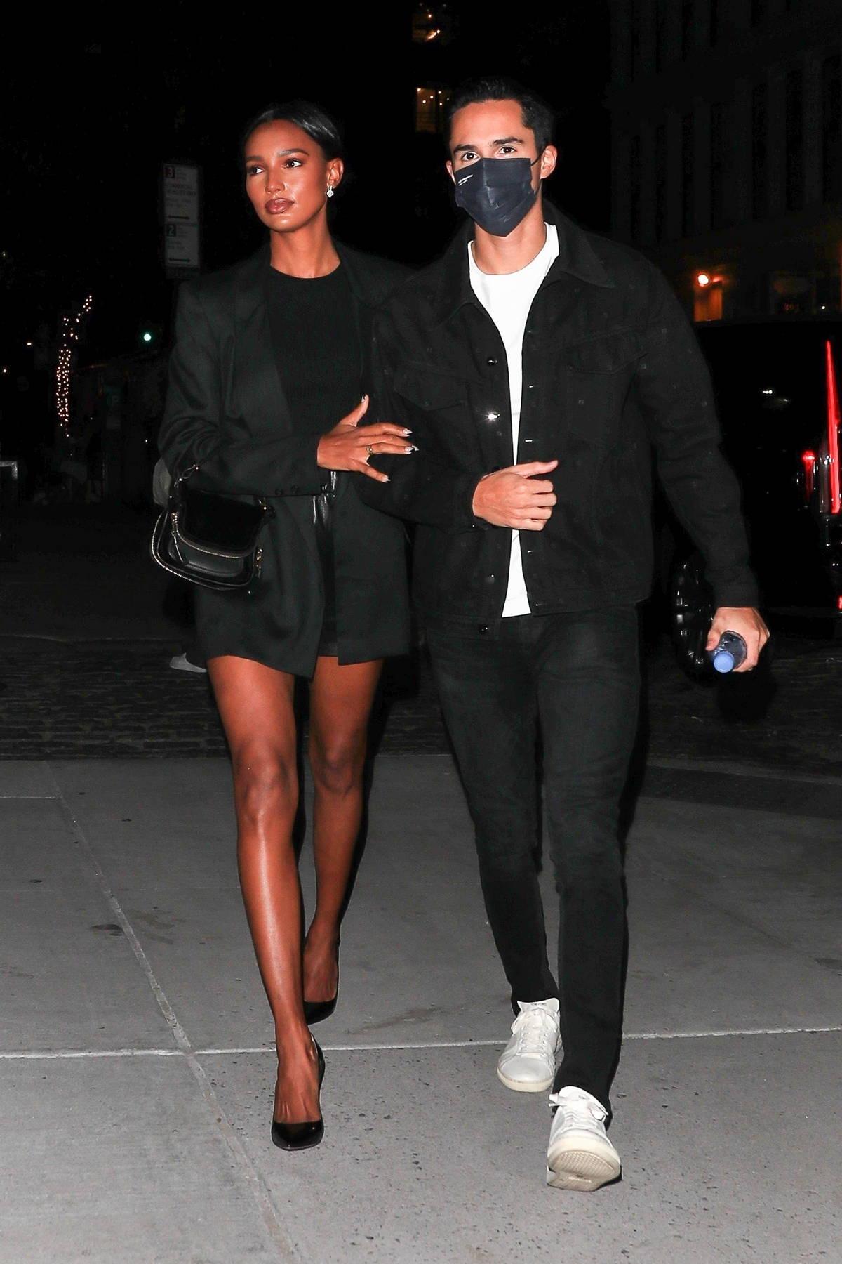 Jasmine Tookes and husband Juan David Borrero attend Paris Hilton's engagement Party in New York City