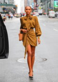 Jasmine Tookes attends the Revolve Gallery inaugural event during New York Fashion Week at Hudson Yards in New York City