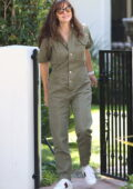 Jennifer Garner looks great in an army green jumpsuit while out in Pacific Palisades, California