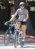 Jennifer Garner sports a grey t-shirt and navy shorts while enjoying a bike ride with her son in Brentwood, California