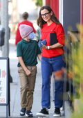 Jennifer Garner takes her son Samuel shopping for chocolate at Edelweiss Chocolates in Brentwood, California