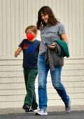 Jennifer Garner takes her son to the LA Kings Ice at Pickwick Gardens ice skating rink in Burbank, California